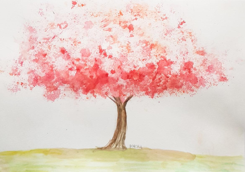un arbre à l'aquarelle