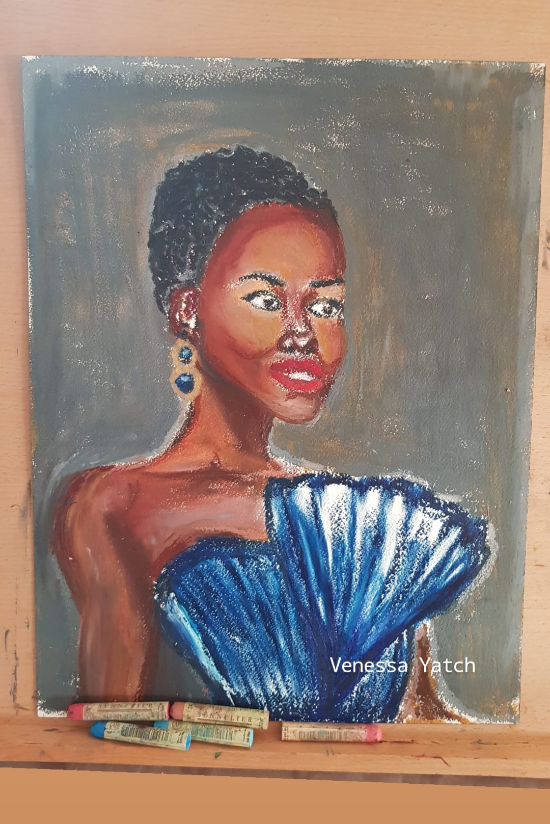 Lupita, oil pastel on paper, 31cm x41
